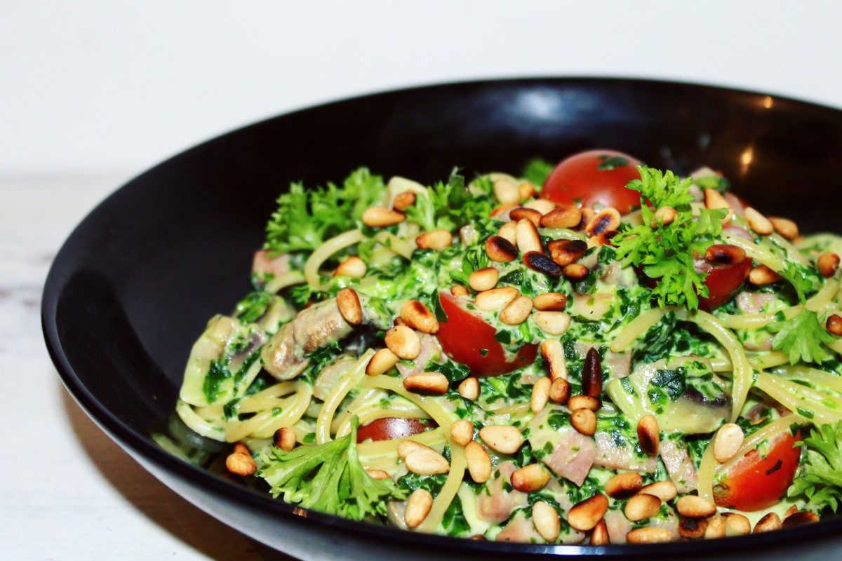 Pasta met spinazie mascarpone saus