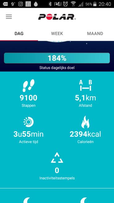 Krijg inzicht in het aantal stappen, verbrande calorieën, totale actieve tijd en de afstand