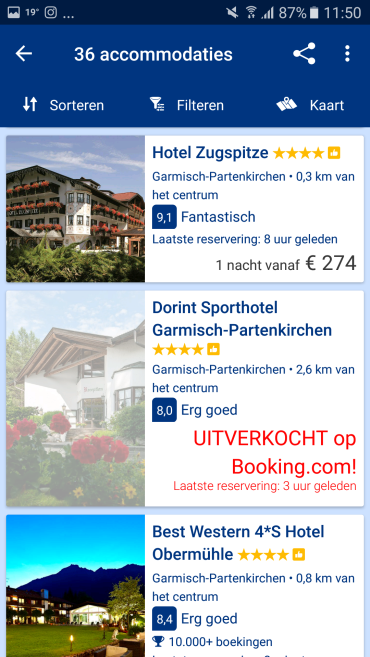 Booking.com app overnachting opties - Healthylivinglisan