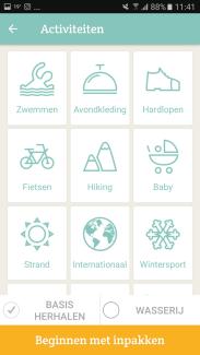 Packpoint app keuzemenu - Healthylivinglisan